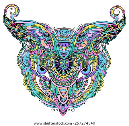 Mask being object symbol animal plant  clan tribe, vector illustration. Abstract psychedelic pattern  for any  design, birthday and other holiday, kaleidoscope,  medallion, yoga, india, arabic - stock vector
