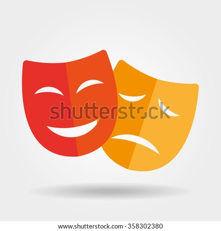 Mask icon/Theater icon with happy and sad masks - stock vector
