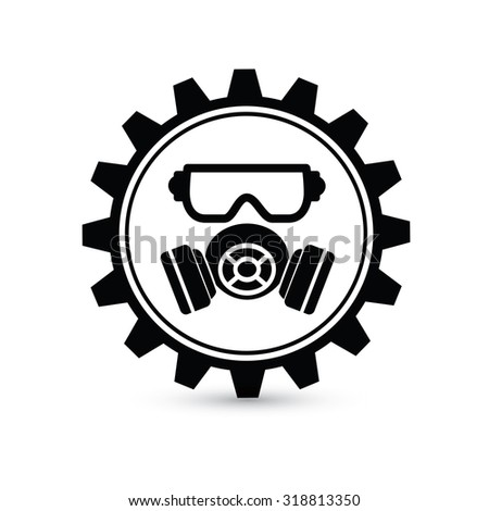 Mask industry design,gear concept on white background,clean vector
