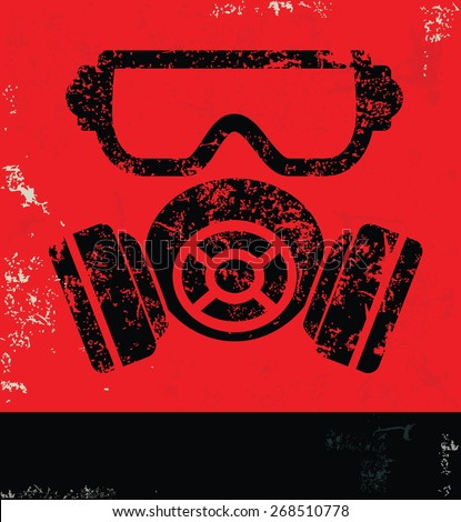 Mask,industry design on red background,grunge vector - stock vector