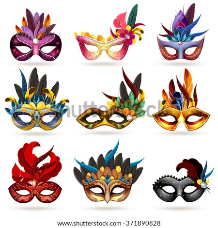 Mask realistic icons set with feathers and jewels isolated vector illustration  - stock vector