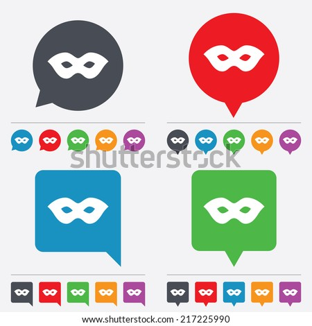 Mask sign icon. Anonymous spy access symbol. Speech bubbles information icons. 24 colored buttons. Vector - stock vector