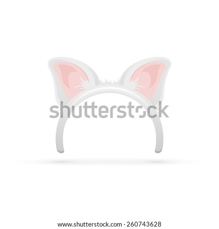 Mask with cat ears isolated on white background, illustration. - stock vector