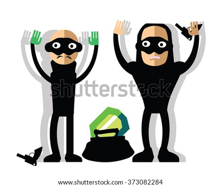 Masked robbers steal diamond - bad guys with guns and hand up. Funny childlike burglars with handbag and brilliant. Bandit giving up captured on 	the scene of the crime. Isolated on white. - stock vector