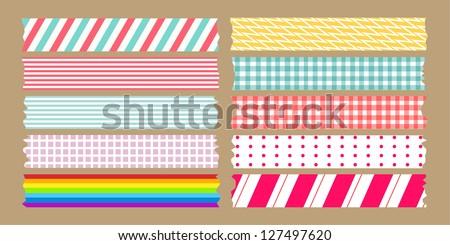 masking tape variety set - stock vector