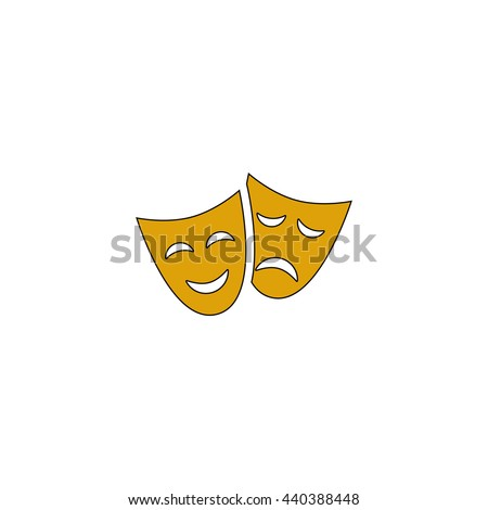 masks Flat yellow thin line symbol on white background. Vector icon