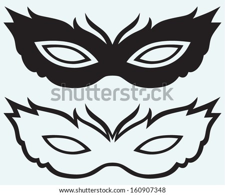 Masks for masquerade costumes isolated on blue background