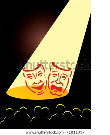 masks in theater - stock vector