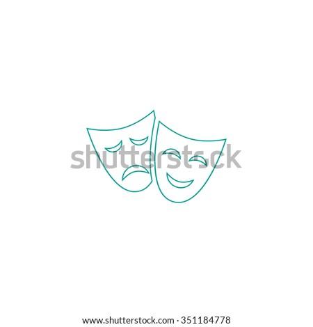 masks Outline vector icon on white. Line symbol pictogram  - stock vector