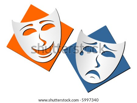 Masks representing theatre comedy and drama over white background