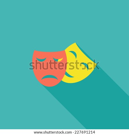 Masks (theater) flat icon. Modern flat icons with long shadow effect in stylish colors. Icons for Web and Mobile Application. EPS 10. - stock vector