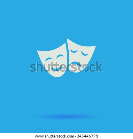 masks White flat vector simple icon on blue background with shadow  - stock vector