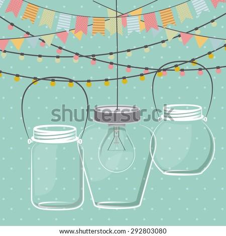 Mason jar digital design, vector illustration eps 10 - stock vector