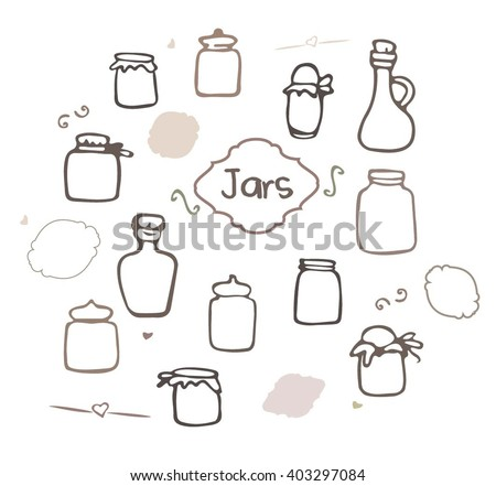 Mason Jar vector set. Sketched jars and bottles isolated on white background. Jar glass set. Hand drawn jars and bottles vector illustration.  - stock vector