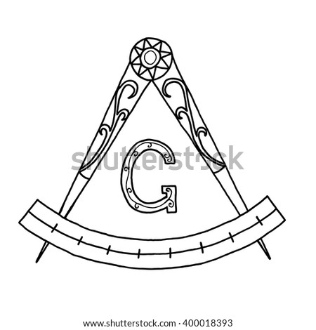 Masonic Freemasonry Emblem Icon Logo Hand Stock Vector 400018393