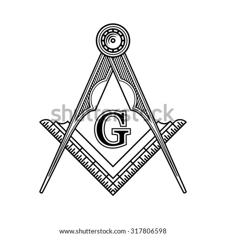 Masonic Freemasonry Emblem Icon Logo. Vector - stock vector