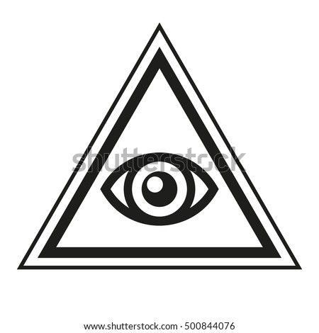 All Seeing Eye Inside Pyramid Triangle Icon Vector