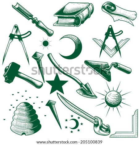 Masonic Symbol Vector Set Stock Vector 205100839 Shutterstock