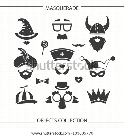 Masquerade funny objects - stock vector
