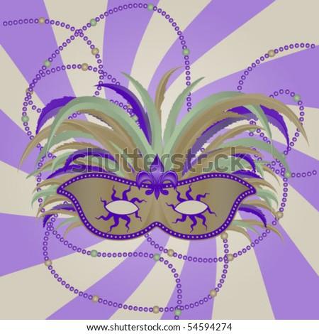 Masquerade Mardi Gras Mask - stock vector