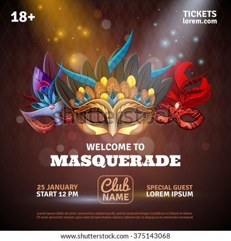 Masquerade realistic poster with party tickets and club symbols vector illustration  - stock vector