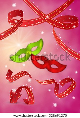 masquerades mask and ribbons on red background - stock vector