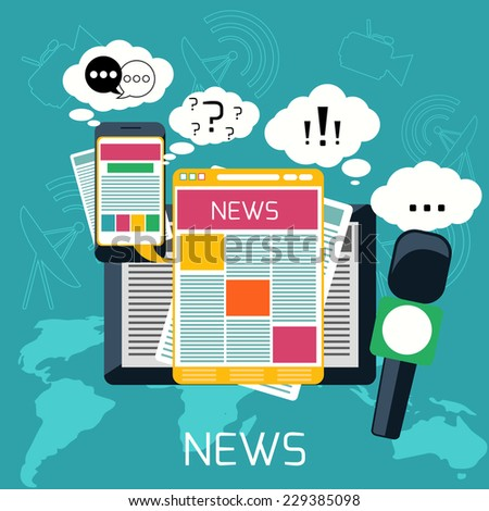 Mass media journalism news concept flat business icons of newspaper paparazzi profession live radio for infographics design web elements - stock vector