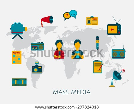 Mass media journalism news concept flat business icons of newspaper paparazzi profession live radio for infographics design web elements with a background map of the world - stock vector