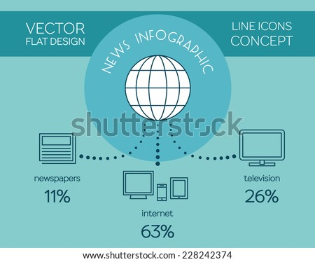 Mass media news infographic. Vector flat design - stock vector