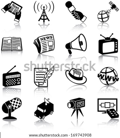 Mass media related icons/ silhouettes - stock vector