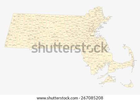 Massachusetts Cities Towns Map Stock Vector Shutterstock - Map of massachusetts towns