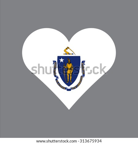 Massachusetts flag heart . Love to country and state. Vector illustration EPS8 - stock vector
