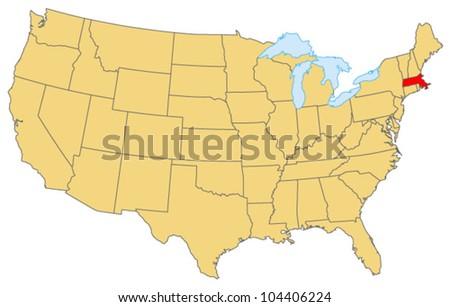 Massachusetts Locate Map - stock vector