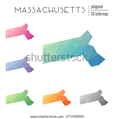 Massachusetts state map in geometric polygonal style. Set of Massachusetts state maps filled with abstract mosaic, modern design background. Multicolored state map in low poly style - stock vector
