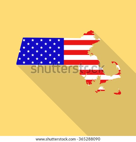 Massachusetts state map in style of USA national flag. Flat style with long shadow - stock vector