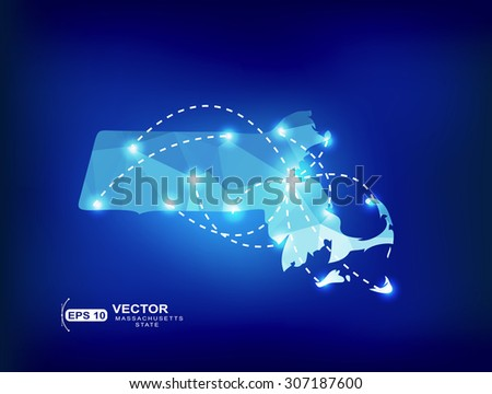 Massachusetts US state map polygonal with spot lights places