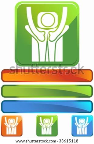 massage square glossy - stock vector