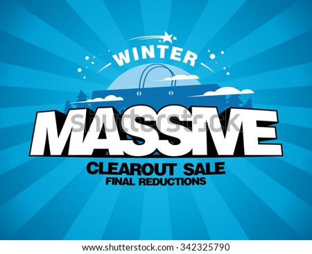 Massive winter sale design with shopping bag on a blue rays backdrop. - stock vector