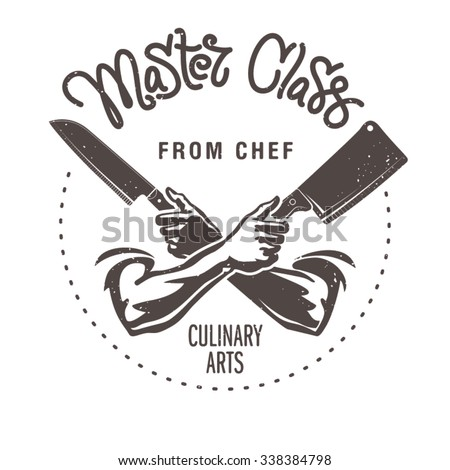 Master class from chef. Male hands are holding the knifes - stock vector