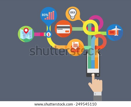 Mat design for quick communication . For marketers , or icons , brochure , magazine, teaching materials , and online shop for Buildings , apps, websites .  - stock vector