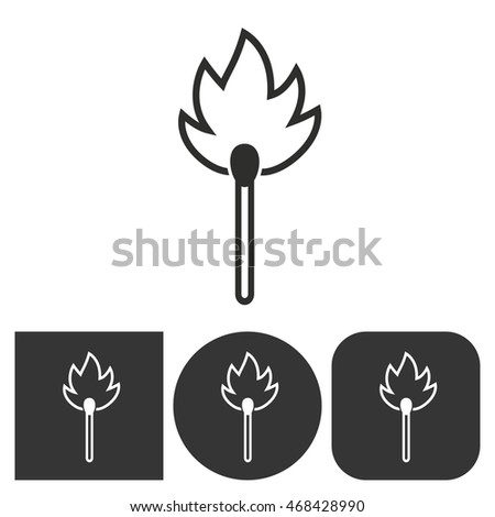 Match - black and white icons. Vector illustration.