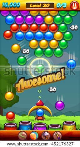 Match 3 Bubble Game Menu Screen