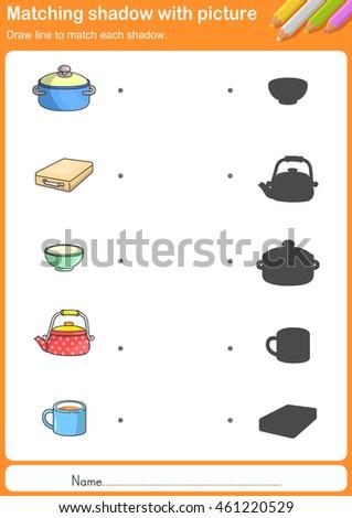 match kitchen tools shadow worksheet education stock vector 461220529 shutterstock. Black Bedroom Furniture Sets. Home Design Ideas