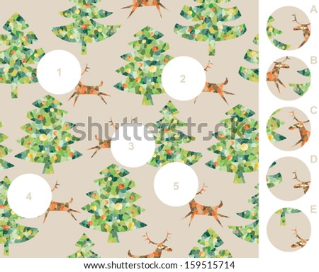 Match pieces, visual game. Answer: 1-D, 2-C, 3-B, 4-A, 5-E. Illustration is in eps8 vector mode! - stock vector