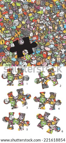 Match pieces, visual game. Solution in hidden layer! Task: find the right piece! Illustration is in eps8 vector mode! Each elements are isolated and on separate layers. - stock vector