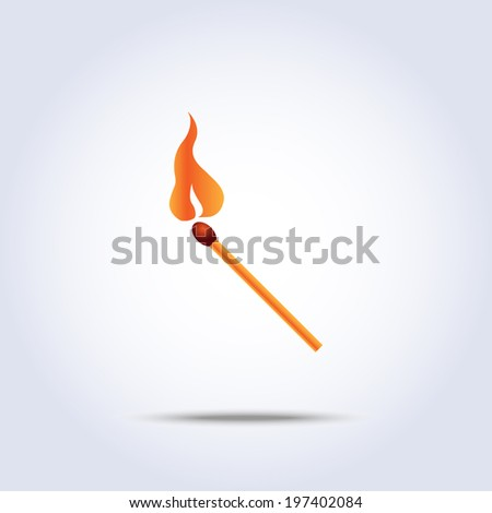 match simple icon in vector with fire