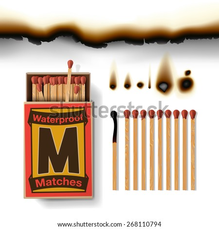 Matchbox and matches, vector illustration. - stock vector