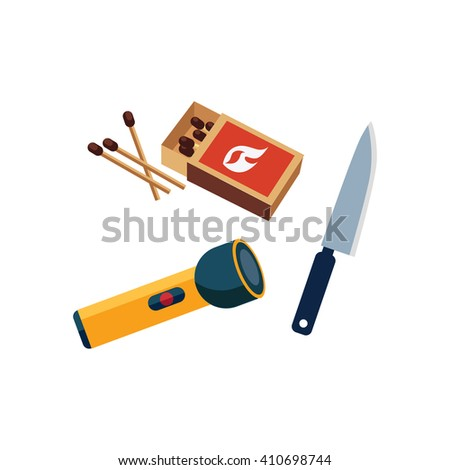 Matches, Lamp And Knife Cartoon Simple Style Colorful Isolated Flat Vector Illustration On White Background - stock vector