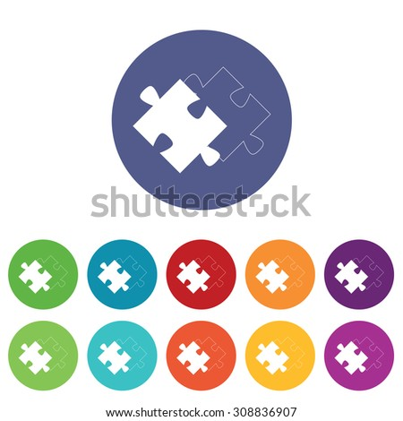 Matching puzzle icons set, on colored circles, isolated on white