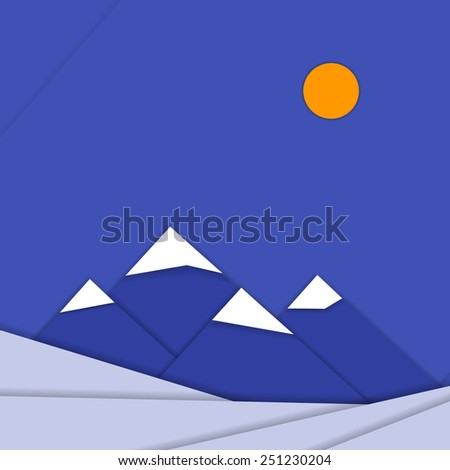 Material design landscape background with mountains for tablet and smartphone, print templates, presentations etc